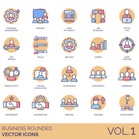 Business icons including personal development, seminar, team efficiency, job interview, office life, key person, skills, abilities, career, head hunting, productivity, online consulting, workforce, workgroup, leadership, partnership, cooperation, meeting, training, recruitment. Illustration