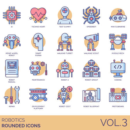 Robotics icons including ai, techno heart, test dummy, spiderbot, mini submarine, monowheel robot, smart human, walking turret, scout, missile mech, manual, maintenance, group, coding, repair, development platform, cost, blueprint, protoboard.