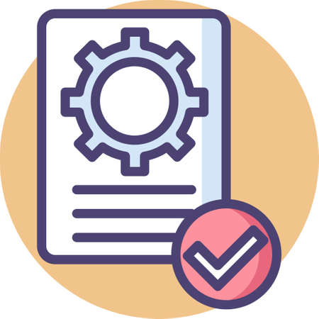 Vector flat icon of paper with gear sign and checkmark, quality control concept illustration Stock Illustratie