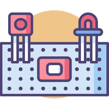 Flat vector icon illustration of electronic protoboard or breadboard