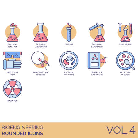 Bioengineering icons including chemical reaction, laboratory, test tube, chemistry experiment, mouse, protective wear, reproduction process, bacteria and virus, scientific literature, petri dish analysis, radiation. Stock Illustratie