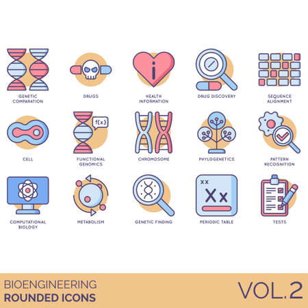 Bioengineering icons including genetic comparison, drugs, health information, discovery, sequence alignment, cell, functional genomics, chromosome, phylogenetic, pattern recognition, computational biology, metabolism, finding, periodic table, tests.