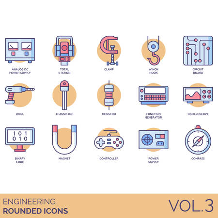 Engineering icons including analog DC power supply, total station, clamp, winch hook, circuit board, drill, transistor, resistor, function generator, oscilloscope, binary code, magnet, controller, compass. Illustration