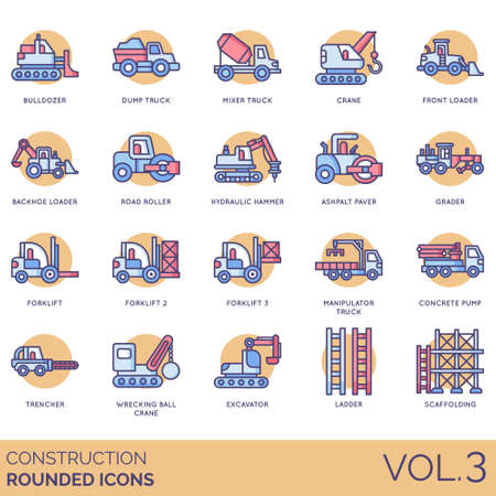 Construction icons including bulldozer, dump truck, mixer, crane, front, backhoe loader, road roller, hydraulic hammer, asphalt paver, grader, forklift, manipulator, concrete pump, trencher, wrecking ball, excavator, ladder, scaffolding. Illustration