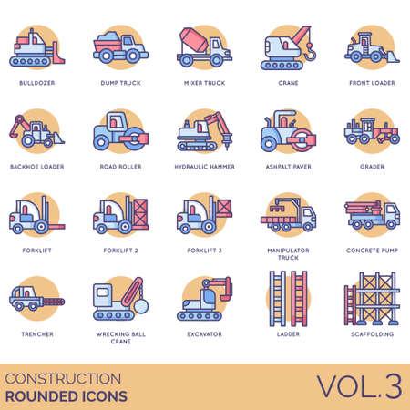 Icônes de construction, y compris bulldozer, camion à benne basculante, mélangeur, grue, avant, tractopelle, rouleau compresseur, marteau hydraulique, finisseur d'asphalte, niveleuse, chariot élévateur, manipulateur, pompe à béton, trancheuse, boule de démolition, excavatrice, échelle, échafaudage. Vecteurs