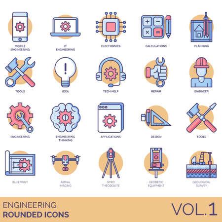 Iconos de ingeniería que incluyen móvil, TI, electrónica, cálculo, planificación, herramientas, idea, ayuda técnica, reparación, ingeniero, pensamiento, aplicación, diseño, plano, imágenes aéreas, teodolito giroscópico, equipo geodésico, estudio geológico.