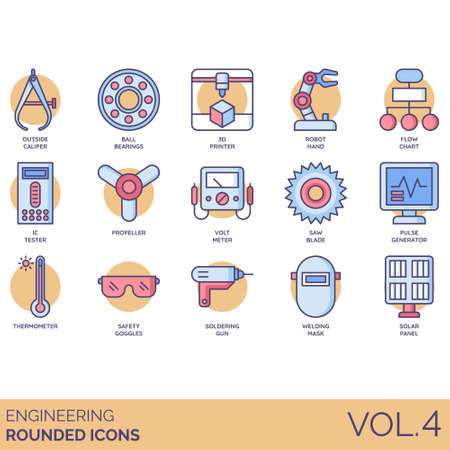 Engineering icons including outside caliper, ball bearings, 3d printer, robot hand, flowchart, IC tester, propeller, voltmeter, saw blade, pulse generator, thermometer, safety goggles, soldering gun, welding mask, solar panel. Illustration