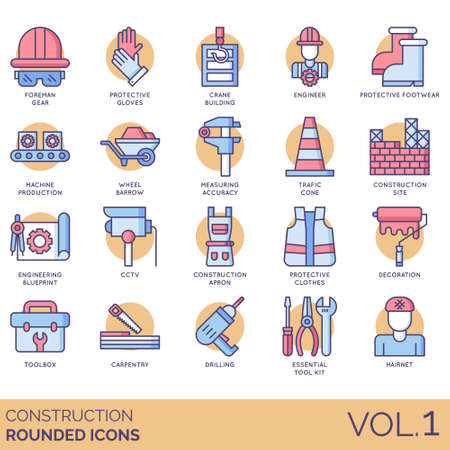 Construction icons including foreman gear, protective gloves, crane building, engineer, footwear, machine production, wheelbarrow, measuring accuracy, traffic cone, site, blueprint, CCTV, apron, clothes, decoration, toolbox, carpentry, drilling, essential toolkit, hairnet.