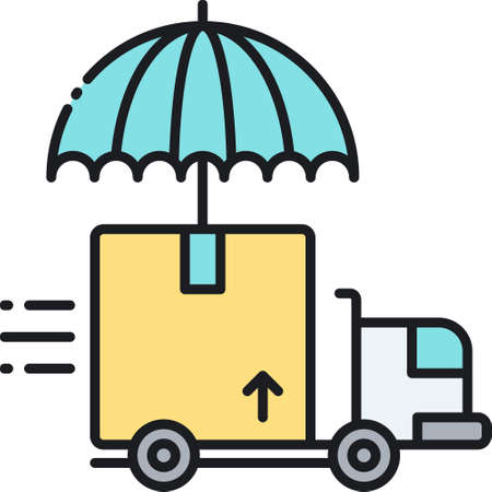 Vector outline icon illustration of umbrella and moving truck, shipping insurance concept