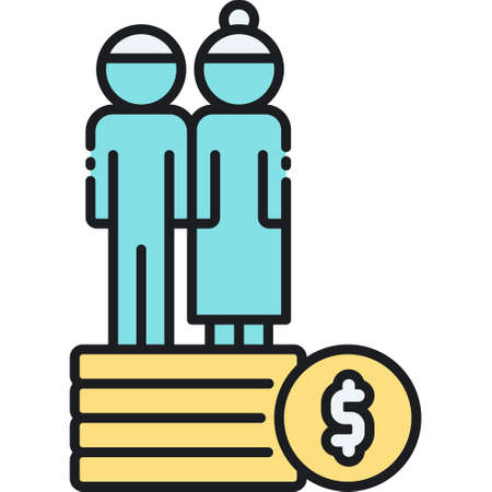 Line vector icon illustration of elderly couple standing on stack of documents, pension insurance contract concept Ilustrace
