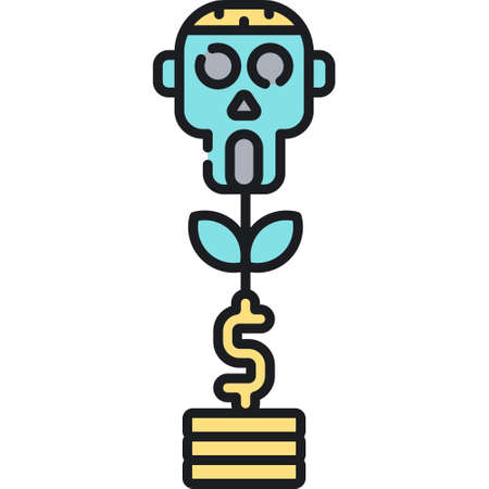 Vector outline icon illustration of zombie fund plant