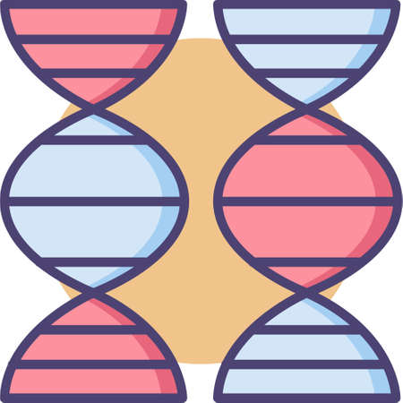 Vector outline icon illustration of two dna structures, genetic comparison concept