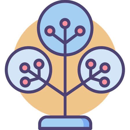 Icône de contour vectoriel illustration de l'arbre phylogénétique