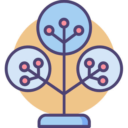 Vector outline icon illustration of phylogenetic tree Vectores