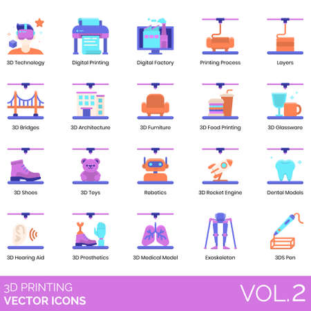 3D printing icons including technology, digital factory, process, layers, bridges, architecture, furniture, food, glassware, shoes, toys, robotics, rocket engine, dental models, hearing aid, prosthetics, medical, exoskeleton, 3ds pen.