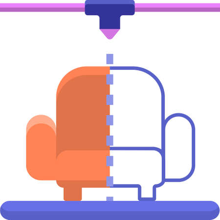 Flat vector icon illustration of sofa rapid prototyping using 3D printer