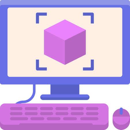 Flat vector icon illustration of cube on computer screen. 3D modeling concept. Векторная Иллюстрация