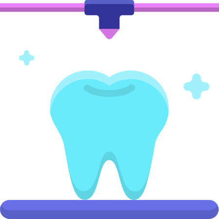 Vector flat icon illustration of 3D printer creating tooth replica, dental models concept  イラスト・ベクター素材