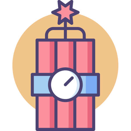 Line vector icon illustration of dynamite with timer