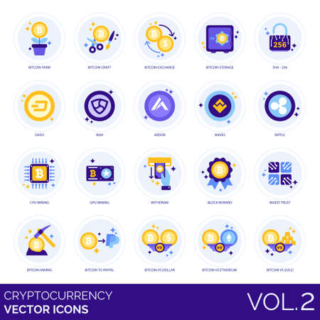 Cryptocurrency icons including farm, craft, exchange, storage, SHA-256, dash, nem, ardor, waves, ripple, CPU, GPU, mining, withdraw, block reward, invest trust, bitcoin, dollar, ethereum, gold.
