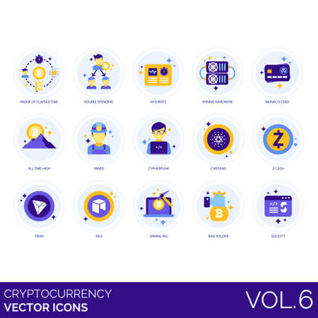 Cryptocurrency icons including proof of elapsed, double spending, hash rate, mining hardware, monaco, card, all time high, miner, cypherpunk, cardano, z cash, tron, neo, rig, bag holder, solidity. Stok Fotoğraf - 132105744