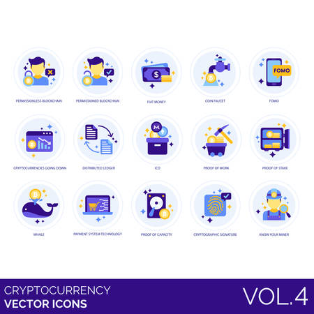 Cryptocurrency icons including permissionless, permissioned, blockchain, fiat money, coin faucet, fomo, going down, distributed ledger, ICO, work, proof of stake, whale, payment system technology, capacity, cryptographic signature, know your miner.