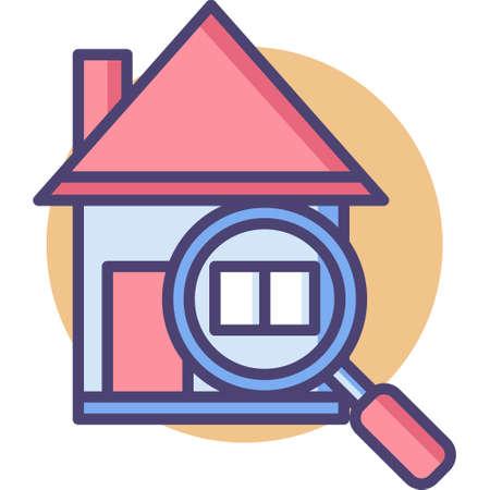 Icône de vecteur de ligne d'une illustration de maison et de loupe, concept d'inspection de bâtiment