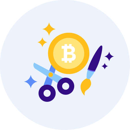 Flat vector icon of bitcoin with scissors and paintbrush illustration, btc craft concept
