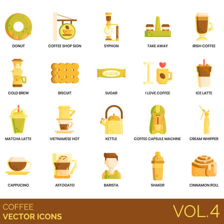 Coffee icons including donut, shop sign, syphon, take away, irish, cold brew, biscuit, sugar, ice latte, matcha, vietnamese hot, kettle, capsule machine, cream whipper, cappuccino, affogato, barista, shaker, cinnamon roll.