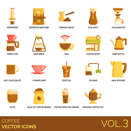 Coffee icons including aeropress, espresso machine, turkish cezve, vacuum pot, hario v60, drip brew, wifi, shop, kettle, hot chocolate, v shape, iced tea, bag, milk pitcher, latte, sack of beans, ice cream, vintage. Illusztráció