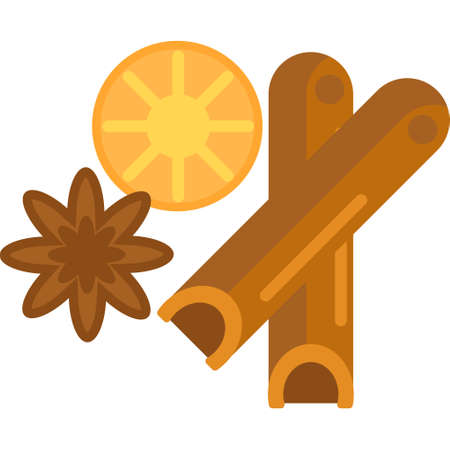 Flat vector icon illustration of coffee spices. Cinnamon, star anise, lemon. Illustration