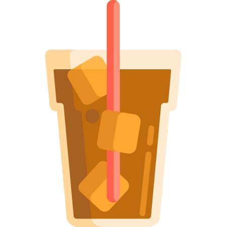 Icona piana di vettore illustrazione di tè freddo in un bicchiere