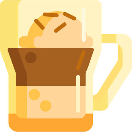 Vector flat icon illustration of affogato coffee served with vanilla ice cream Ilustrace