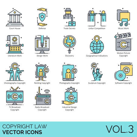 Copyright law icons including court house, defense, trade secrets, unfair competition, music work, literature, design, discovery, geographical indications, motion picture, choreography, painting, phot