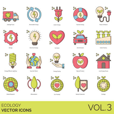 Ecology icons including garbage truck, renewable, nuclear, power of nature, electrical, go green, zero emission, factory, efficient lighting, save the planet, saving, natural product, low energy house, global research, afforestation, eco-friendly, protection. Ilustrace