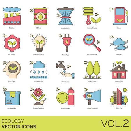 Ecology icons including pollution, oil drum, waste reduction, biodiesel engine, biofuel, eco services, innovation, power plug, natural research, clean air, think green, water cycle, saving, healthy forest, house, cardboard box, fertilize the plants, biodegradable, campaign, city.