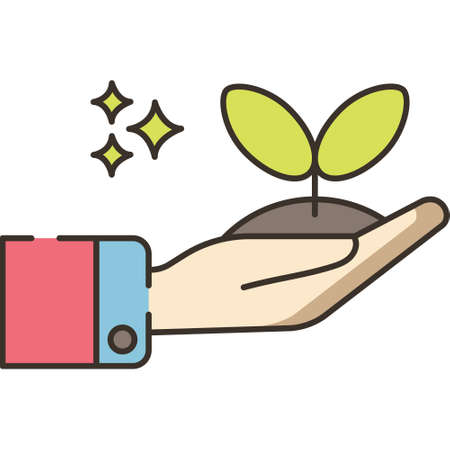 Line vector icon illustration of hand holding a seedling, replant concept