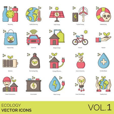 Ecology icons including recycling, global warming, solar energy, turbine, radioactivity, organic bag, smart car, biogas, bicycle, replant, batteries, bio garbage, efficiency, green chemistry, purified water, construction, accumulator, technology, healthy earth.