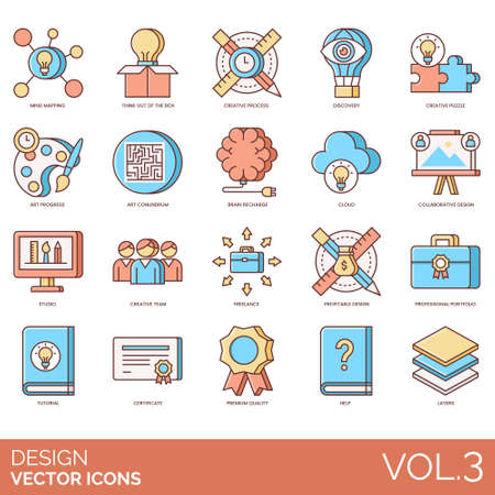 Design icons including mind mapping, think out of the box, creative process, discovery, puzzle, art progress, conundrum, brain recharge, cloud, collaborative, studio, team, freelance, profitable, professional portfolio, tutorial, certificate, premium quality, help, layers. 向量圖像