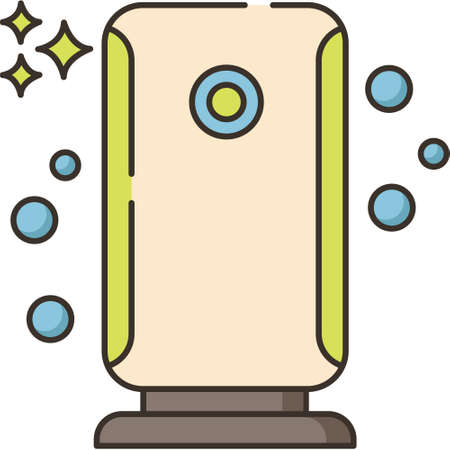 Outline vector icon illustration of purifier air purification