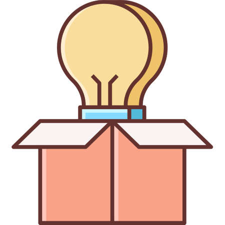 Flat vector icon illustration of a bulb appearing from cardboard. Think out of the box concept. Ilustración de vector
