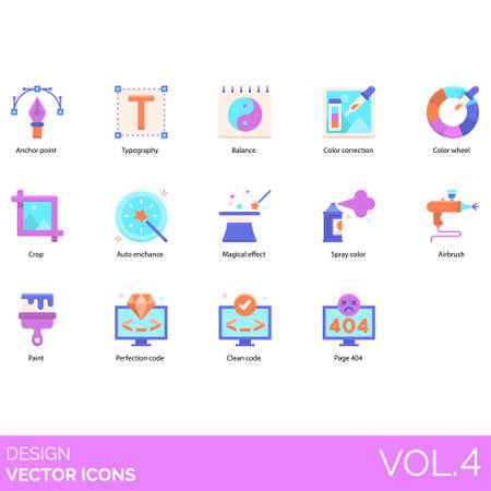 Design icons including anchor point, typography, balance, color correction, wheel, crop, auto enhance, magical effect, spray, airbrush, paint, perfection code, clean, page 404.