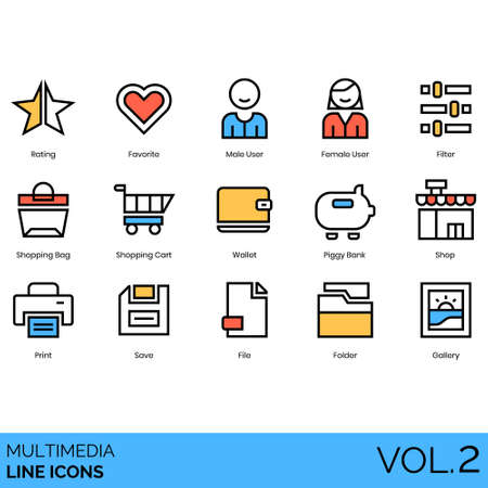 Multimedia icons including rating, favorite, male, female user, filter, shopping bag, cart, wallet, piggy bank, shop, print, save, file, folder, gallery.