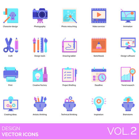 Design icons including character, photography, photo retouching, video services, animation, craft, tools, drawing tablet, sketchbook, software, print, creative factory, project briefing, deadline, trend research, creating ideas, artistic thinking, technical, inspiration, brainstorm.