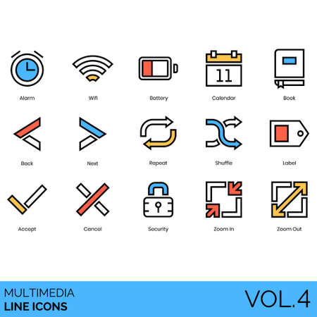 Multimedia icons including alarm, wifi, battery, calendar, book, back, next, repeat, shuffle, label, accept, cancel, security, zoom in, out.