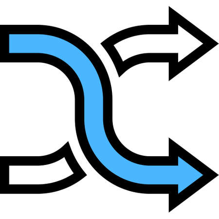 Outline vector icon illustration of shuffle arrows, random, change order sign Ilustrace