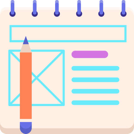 Vector flat icon of wireframe sketching using paper and pencil illustration