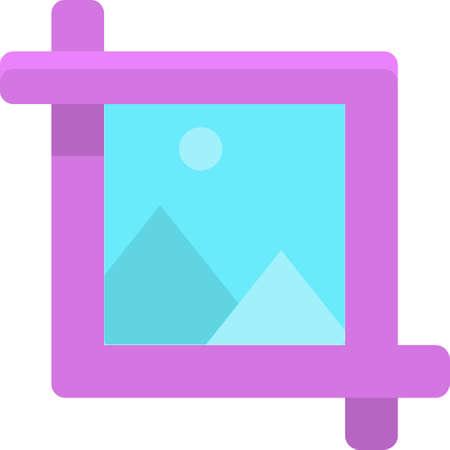 Flat vector icon of image crop symbol illustration