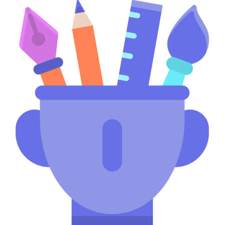 Vector flat icon of open head with art tools illustration, artistic thinking concept