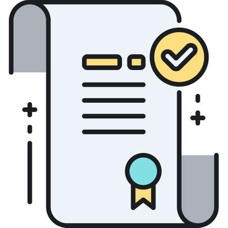 Line vector icon illustration of patent accepted. A legal document with checkmark sign.